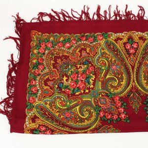 NWT Vintage Floral Mandala Fringe Square Scarf